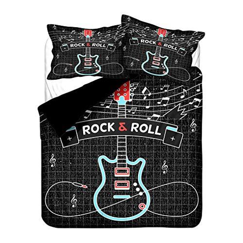 Ropa de Cama Guitarra Agua Fuego 3D Juego de Cama Música Rock Hippie Funda de edredón y Funda de Almohada, Infantil Chico Chica Funda nórdica con Cremallera (Guitar 5, 220x240 cm - Cama 150 cm)