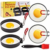 Egg Rings Stainless Steel Set - 4 Pcs Premium Circle Egg Cooker Rings Metal Non Stick Heat Resistant Handle and Silicone Oil Brush Cooking Utensils for Griddle Pan Fried Eggs Pancake Sandwich Burgers