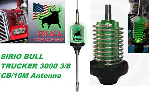 Find Discount Sirio Bull Trucker 3000 3/8 3500W CB & 10M Mobile Antenna with Shaft - Green LED!