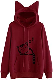 106f4ddffa0 Giuoke Women s Fashion Lovely Cartoon Ears Hooded Printed Loose Pullover  Sweatshirts