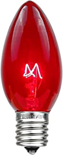 Novelty Lights 25 Pack C9 Outdoor Christmas Replacement Bulbs, Red, E17/C9 Intermediate Base, 7 Watt