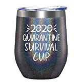 2020 Quarantine Survival Cup - Gifts for Women, Men, Friend, Sister, Mom, Grandma, Aunt, Daughter, Coworker - 30th, 40th, 50th, 60th Birthday Gift Ideas, Insulated Wine, 12 Ounce Glitter Charcoal