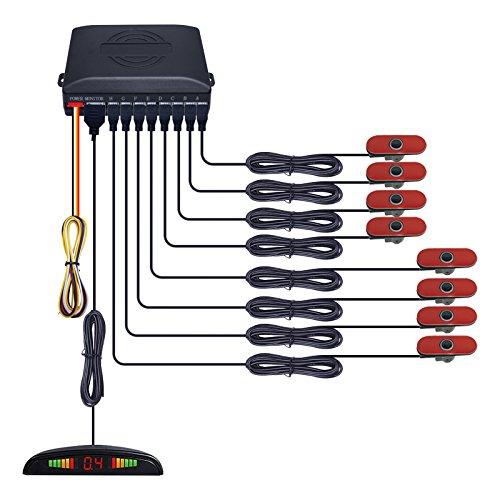 Feeldo écran LED de voiture 8 pcs 16,5 mm original capteurs Envers Aid sauvegarde Radar Système de capteur de stationnement