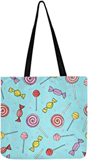 Colorful Lollipop Candy Canvas Tote Handbag Shoulder Bag Crossbody Bags Purses For Men And Women Shopping Tote