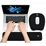 Ergonomic Keyboard Wrist Rest Pad and Mouse Pad Hand Support for Laptop Computer Wrist Rest Support Cushion Nonslip Memory Foam Set for Office Gaming Easy Typing & Pain Relief - Black