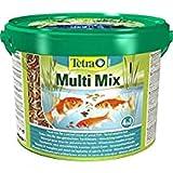 Tetra Pond Multi Mix 10 L - Comida para peces que consiste en cuatro tipos diferentes de comida (Comida en escamas, Palitos de comida, Gammarus, Wafer)