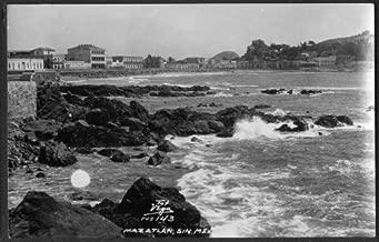 Panorama from seaside Mazatlan Mexico RPPC postcard 1940s Vega #143