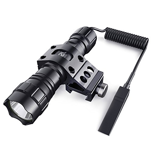 CISNO 1000 Lumens LED Tactical Flashlight Torch Pressure Switch with 1'' Offset Mount for Hunting Hiking, Flat Black