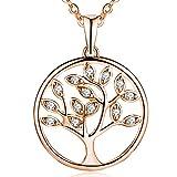 JO WISDOM Collier Pendentif Arbre de Vie Yggdrasil Argent 925/1000 Femme AAA zirconium,plaque or rose
