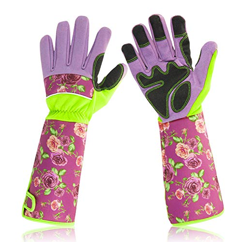 Long Garden Gloves for Women , Garden Work Gloves with Long Sleeves, Wrap your Arms Until The Elbow (Purple)