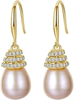 1.10 CT Round Cut CZ & Simulated Pearl 925 Sterling Silver French Hook Earrings for Women 14K Yellow Gold Finish