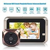 Digital Door Viewer, 720P 4.3inch HD Screen WiFi Smart Peephole Viewer, Doorbell Home