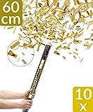 10 XXL Konfetti Shooter Gold 60cm | Goldregen mit Extra lautem Knall | Konfettikanone mit Hoher...