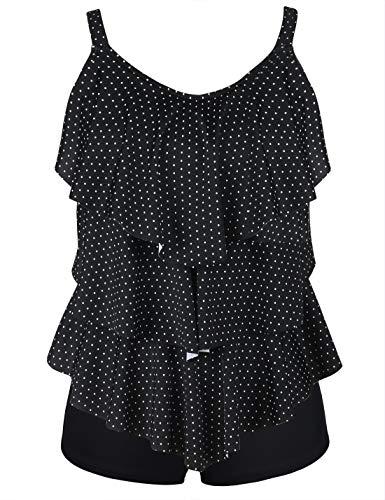 Septangle Women's Tankini Set Ruffle Swimwear Two Pieces Swimsuit (Black&White Polka Dots, US 18W)