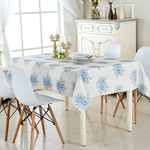 Motif Rose brodé Étanche Rectangle Coton Table Tissu Salon Cuisine Décoration Multifonction Couverture Tissu , blue , 60 * 60cm