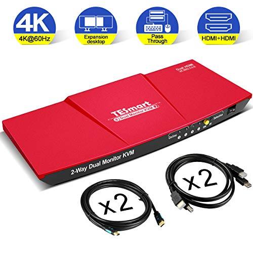 cheap Updated TE Smart Dual HDMI 4×2 KVM Switch with 2 Ports and 2 Monitors