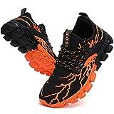 suke Sneakers für Herren Laufschuhe Athletic Tennis Walking Schuhe Mode Sneaker, Schwarz (A99 schwarz orange), 38.5 EU