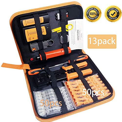 Professional 13 in 1 Network Computer Maintenance Repair Kit,ethernet crimper kit  RJ45 Crimp Tool RJ45 Network Cable Tester 50 Pack Pass ThroughConnectorsNetwork Wire Stripper,Punchdown Tools
