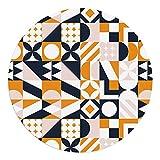 DON LETRA Alfombra Vinílica Redonda para Salón, Dormitorio, Cocina y Oficina - Geometría - 75cm de Diámetro - 2mm de Grosor - Material Impermeable y Lavable, ALV-019