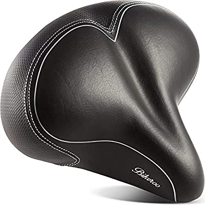 Bikeroo Oversized Comfort Bike Seat Most Comfortable Replacement Bicycle Saddle - Universal Fit for Exercise Bike and Outdoor Bikes - Wide Soft Padded Bike Saddle for Women and Men