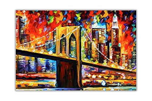 Abstrakte Brooklyn Bridge von Leonid Afremov Ölgemälde Nachdruck Wanddekoration Poster, Glänzendes Papier, 03- A1 = 59.4cm x 84.1cm