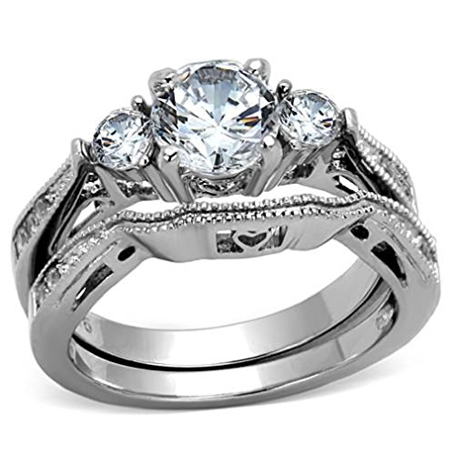 Doublebeez Jewelry Stainless Steel Round Cut Cubic Zirconia Engagement...