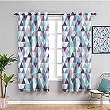 House Decor Collection - Cortinas opacas con diseño de triángulo, diseño abstracto y geométrico, impresión elegante, fácil de instalar, color rosa, azul marino, morado, blanco y blanco