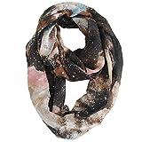 Daguanjing Fashion Lightweight Brown Galaxy Infinity Scarfs For Women