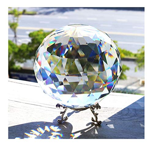 H&D Clear Cut Crystal Glass Ball, 100mm Translucent Faceted Gazing Ball, Crystal Sphere Prisms Suncatcher Home Hotel Decor