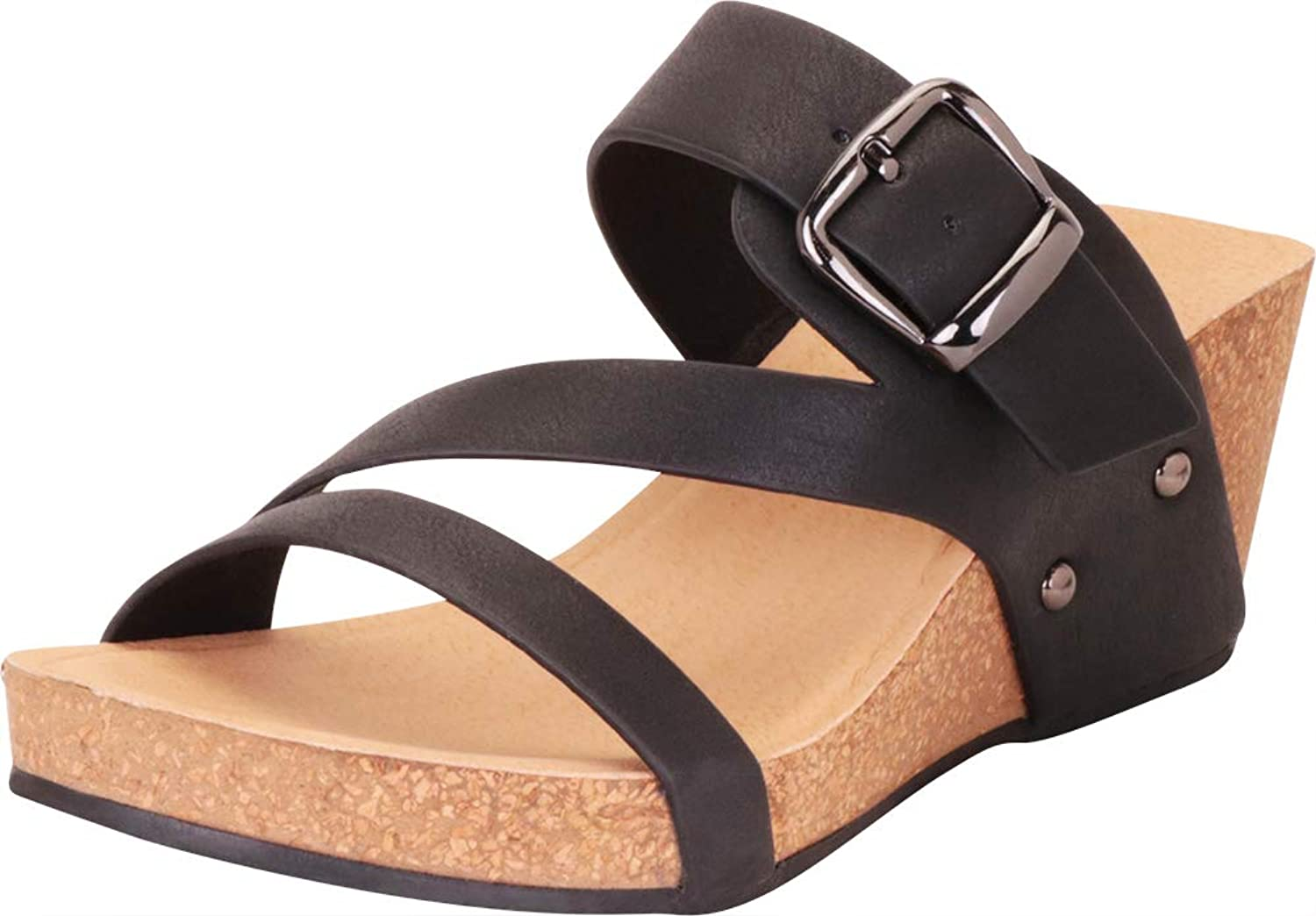 Cambridge Select Women's Credver Strappy Buckle Chunky Platform Mid Wedge Sandal