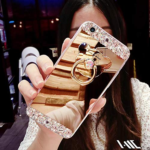 Sweau Funda iPhone 6//6s Silicona Carcasa Caso Cover Anti-Ara/ñazos Funda Bling Glitter Espejo Volver Caso Ultra Delgado TPU Transparente Protectivo Parachoques Tapa Trasera Shell con Oso Anillo