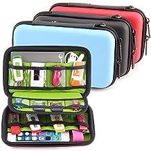 DDQ EVA Shockproof Waterproof Portable Hard Drive Case Bag/Cable Case Bag/USB Flash Drive Case Bag/Power Bank Case Bag/Game Console Case Bag/GPS Case and Digital Camera Case - Black