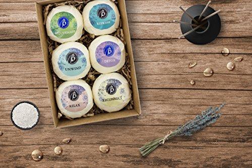 "BRUBAKER Bath Bombs Gift Set ""Relax & Unwind"" - 6 Handmade Luxury Spa Bath Fizzies - All Natural, Vegan, Organic Ingredients - Macadamia Nut Oil Moisturizes Dry Skin"