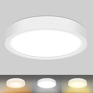 Plafonnier LED, MEIKEE Luminaire Plafonnier 32W 3200LM Imperméable IP54 3 Couleures Réglables 6500K 4000K 2700K Lampe de A...