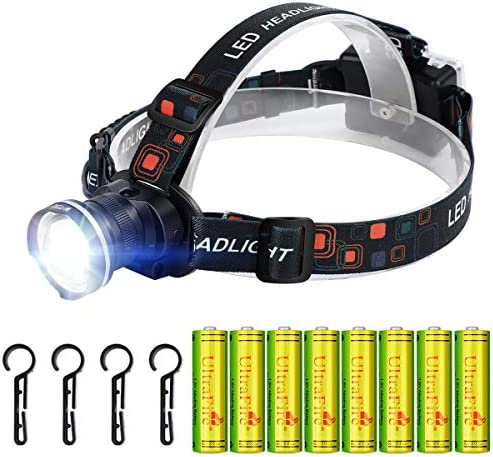 UltraFire Super Bright LED Headlamp with 8PCS 1 5V Alkaline AA Battery Kit 800 lumens 4 Modes product image