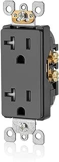 Leviton T5825-E 20 Amp, Tamper- Resistant, Decora Duplex Receptacle, Residential Grade, Black