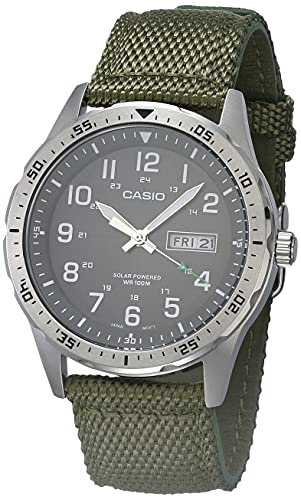 Casio Men's Solar Powered Stainless Steel Quartz Cloth Strap, Green, 22 Casual Watch (Model: MTP-S120L-3AVCF)