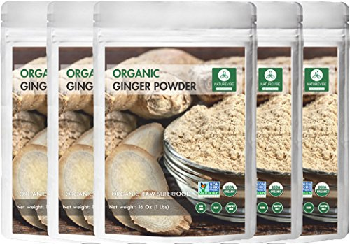 Naturevibe Botanicals Organic Ginger Root Powder-5 lbs (5 pack of 1lbs each), Zingiber officinale Roscoe | Non-GMO verified, Gluten Free and Kosher
