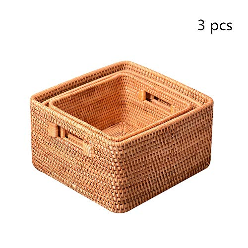 Rattan Fruit Basket Rattan Fruit Basket Food Tray Woven Serving Tray With Handles Decorative Set Of 3 Woven Storage Basket (Color : Natural, Size : S+M+L)
