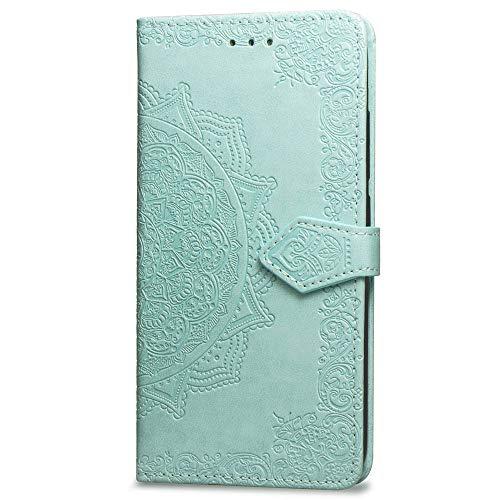 3C Collection Fundas iPhone X Tapa de Falsa Piel Mandala Verde, Fundas iPhone XS Libro Iman con Tarjetero, Grabado Flores de Funda para iPhone X y iPhone XS Antigolpes Mujer