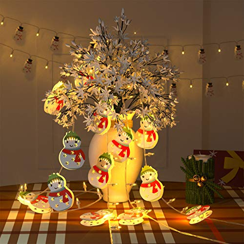 Geanli Christmas String Lights Ornaments - LED Xmas Tree Hanging Decorations with 3 Modes for Gate Party Indoor Outdoor Decor (GreenHatSnowman)