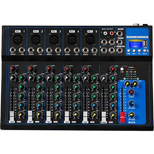 Depusheng 7 canali USB Microfono digitale Console mixer audio 48V Phantom Power Amplificatore mixer audio professionale per karaoke con Bluetooth