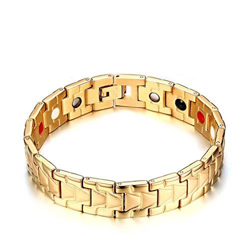 Adisaer Edelstahl Armband Herren Hochglanz Poliert Magnetarmband Gold Magnetisch Armreif Pfeil Form Länge 21CM Biker Punk