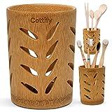 Vaso Premium Cepillo Dientes de Bambú - Organizador Cepillos de Dientes con Agujeros | Soporte Secado Rápido | Pasta de Dientes Brochas Maquillaje | Portacepillos de Dientes | Bamboo Leaves décor