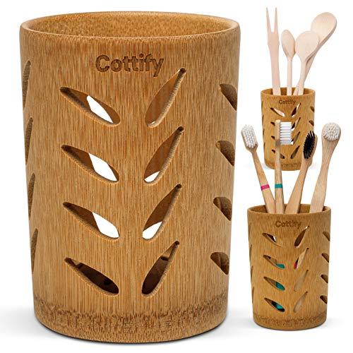 Vaso Premium Cepillo Dientes de Bambú - Organizador Cepillos de Dientes con Agujeros | Soporte Secado Rápido | Pasta de Dientes Brochas Maquillaje | Circulación de aire 360˚| Bamboo Leaves décor
