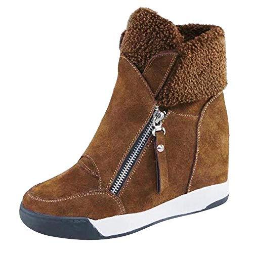 Logobeing Botas Mujer Invierno/Botas de Mujer Casual Zapatos de Muffin con Cuñas Cordones Botas Zapatillas de Deporte Botines Mujer Tacon Calientes Altas Boots Nieve Plataforma (38,Marrón)