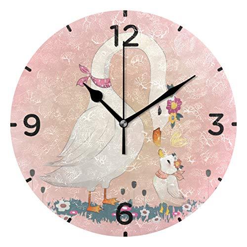 El Amor Daisy Mami Ganso Reloj de Pared Silencioso Reloj de Cuarzo Redondo DIY Reloj de Etiqueta...