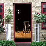 LLWYH Etiqueta De La Puerta Cartel De Puerta con Micrófono 3D Autoadhesivo Door Sticker Wallpaper 90 x 200 cm