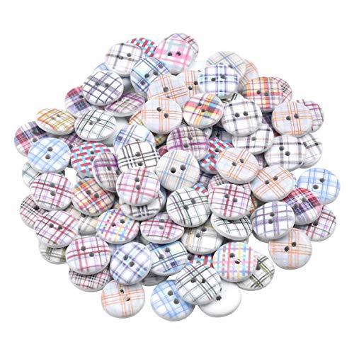 Pinsheng 100 Botones de Madera, 15 mm Botones Redondos Pintados a Cuadros, 2 Agujeros, Botón de Costura Vintage Colorido para Niños, Ropa Costura, Tejido, Manualidades, álbumes de Recortes