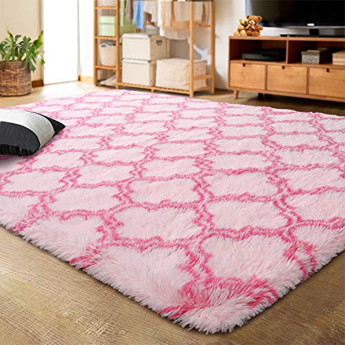 LOCHAS Luxury Velvet Shag Area Rug Modern Indoor Plush Fluffy Rugs, Extra Soft and Comfy Carpet, Geometric Moroccan Rugs for Bedroom Living Room Girls Kids Nursery, 4x6 Feet Pink/Hot Pink